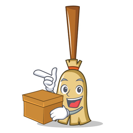 Broom character cartoon style holding a box isolated on white. vector illustration Illustration