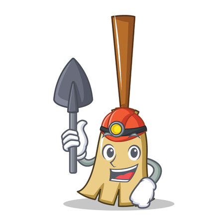 Miner broom character cartoon style vector illustration isolated on white
