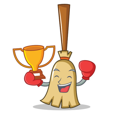 Boxing winner broom character cartoon style holding a trophy. vector illustration