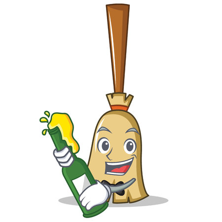 Broom character cartoon style holding a bottle of wine. vector illustration