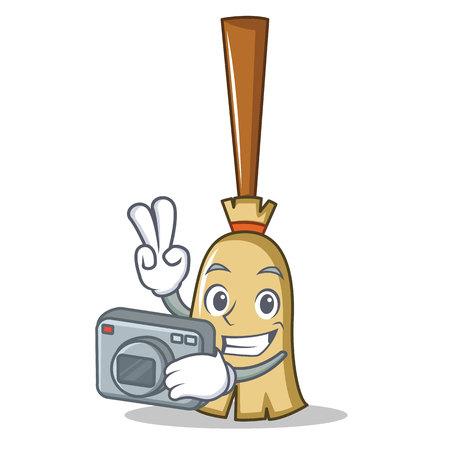 Photographer broom character cartoon style vector illustration Illustration