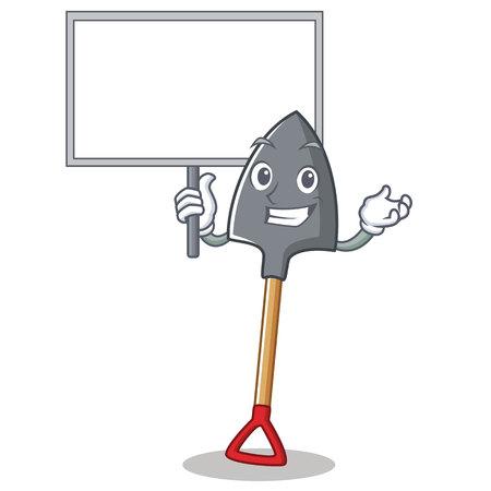 Bring board shovel character cartoon style vector illustration