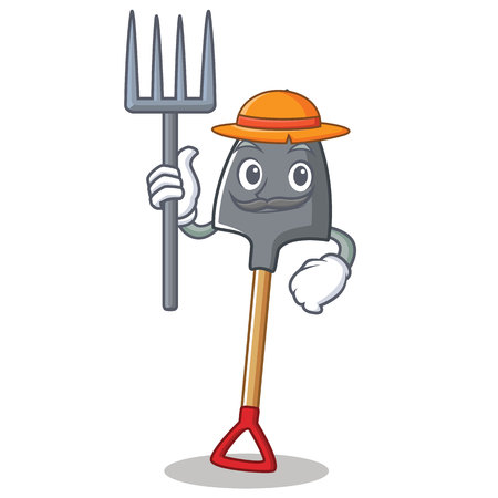 Farmer shovel character cartoon style vector illustration Illustration