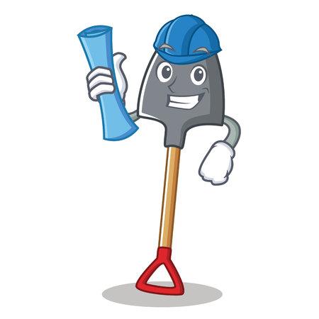 Architect shovel character cartoon style, vector illustration.