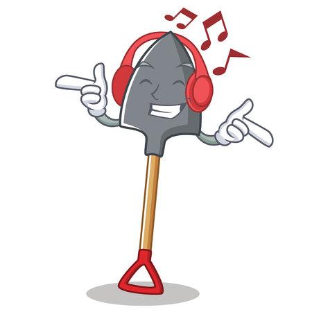 Listening music shovel character cartoon, style vector illustration.