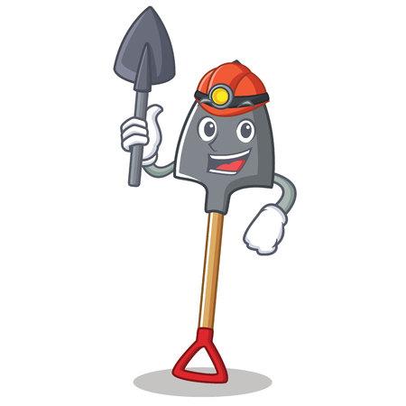 Miner shovel character cartoon style, vector illustration. Illustration