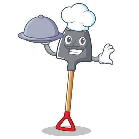 Chef with food shovel character cartoon style, vector illustration.