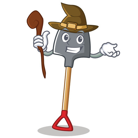 Witch shovel character cartoon style
