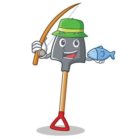 Fishing shovel character cartoon style