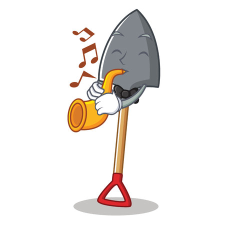 With trumpet shovel character cartoon style Illustration