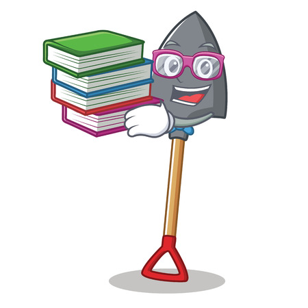 Student with book shovel character cartoon style Illustration