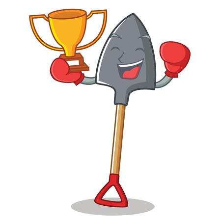 Boxing winner shovel character cartoon style