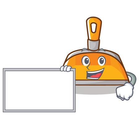 With board dustpan character, cartoon style vector illustration Illustration