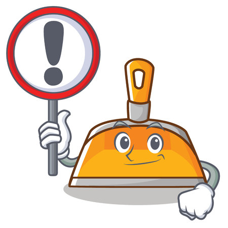 With sign dustpan character cartoon style Illustration