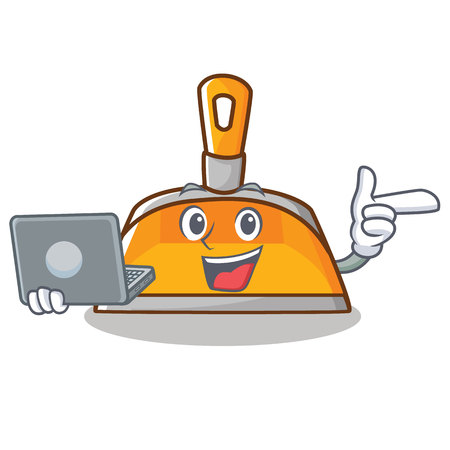 With laptop dustpan character cartoon style Illustration