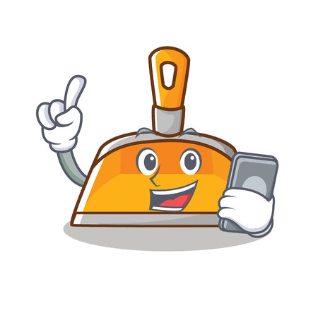With phone dustpan character cartoon style