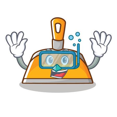 Diving dustpan character, cartoon style vector illustration