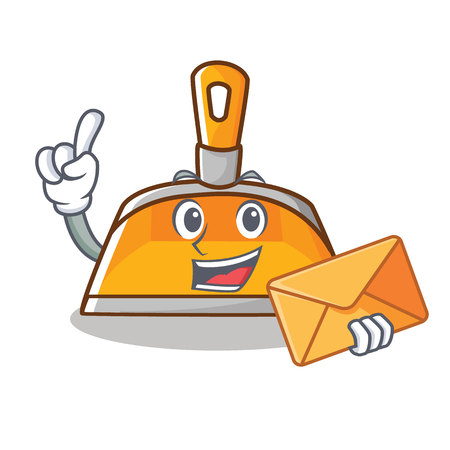 With envelope dustpan character cartoon style vector illustration