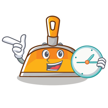 With clock dustpan character cartoon style vector illustration