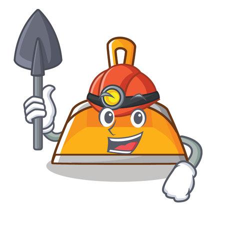 Miner dustpan character cartoon style vector illustration Illustration