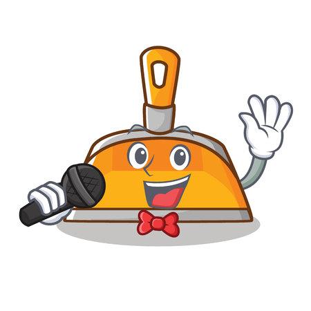 Singing dustpan character cartoon style vector illustration