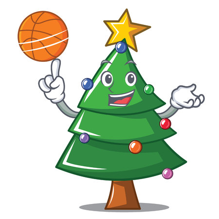 With basketball Christmas tree character cartoon