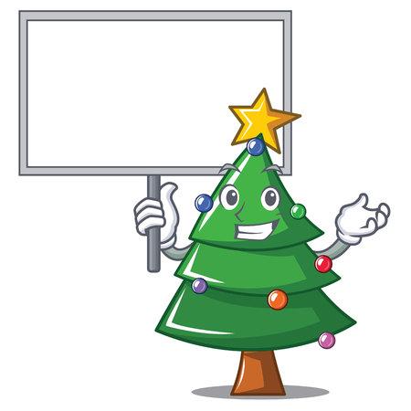 Bring board Christmas tree character cartoon vector illustration