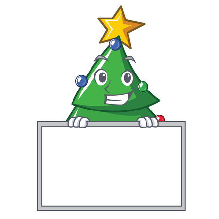 Grinning with board Christmas tree character cartoon vector illustration