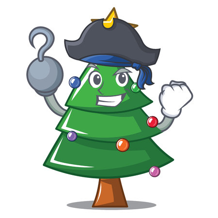 Pirate Christmas tree character cartoon vector illustration