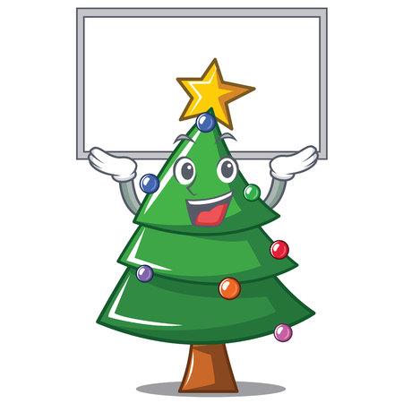 Up board Christmas tree character cartoon vector illustration Illustration