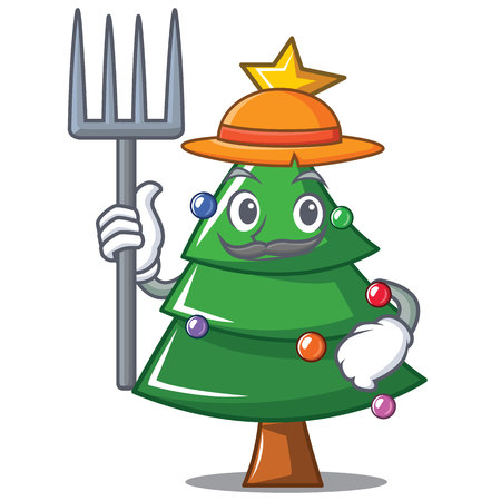 Farmer Christmas tree character cartoon vector illustration Illustration