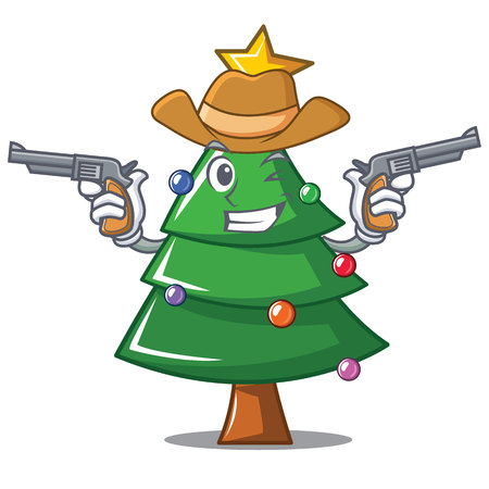 Cowboy Christmas tree character cartoon vector illustration