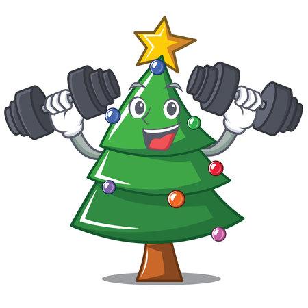 Fitness Christmas tree character cartoon vector illustration.