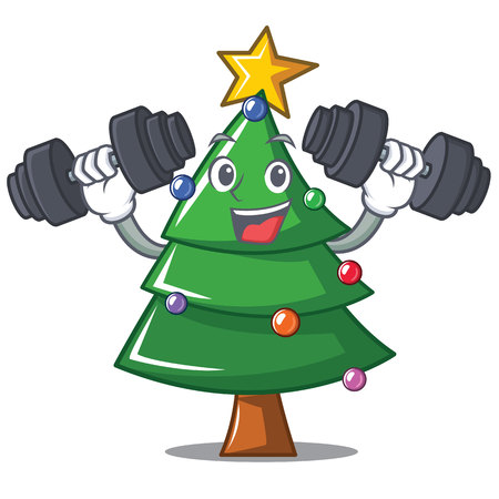 Fitness Christmas tree character cartoon vector illustration.