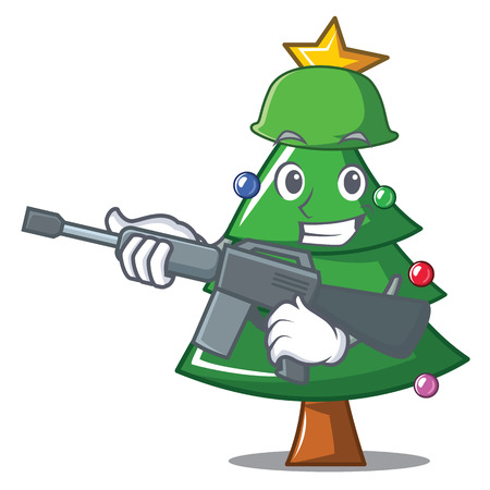 Army Christmas tree character cartoon vector illustration.