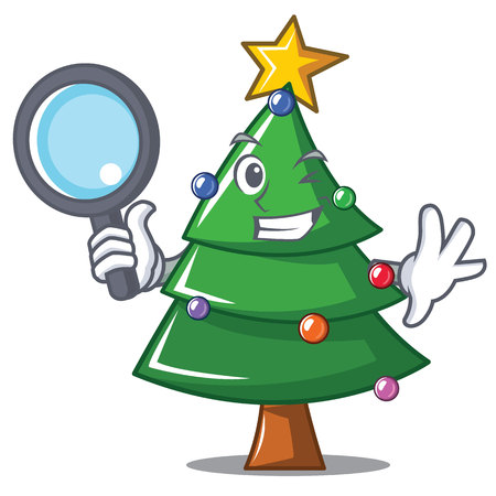 Detective Christmas tree character cartoon vector illustration. Vettoriali