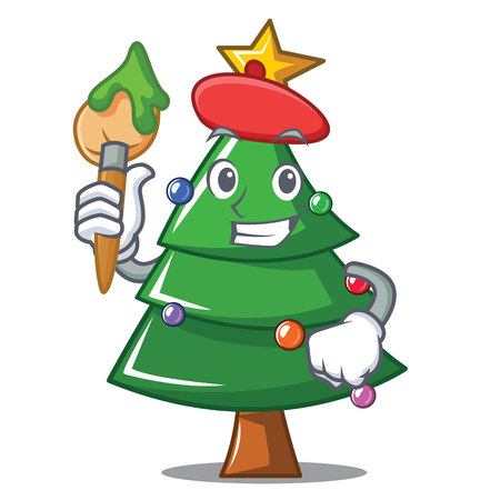 Artist Christmas tree character cartoon
