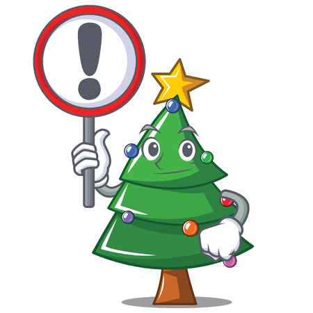 With sign Christmas tree character cartoon