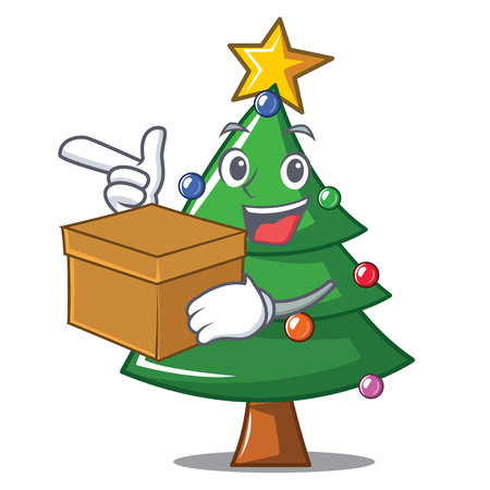 With box Christmas tree character cartoon Illustration
