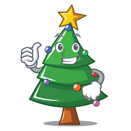 Thumbs up Christmas tree character cartoon, vector illustration. Illustration