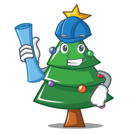 Architect Christmas tree character cartoon, vector illustration.