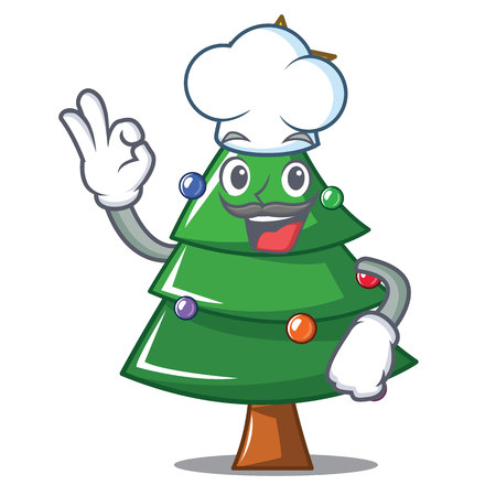 Chef Christmas tree character cartoon, vector illustration.