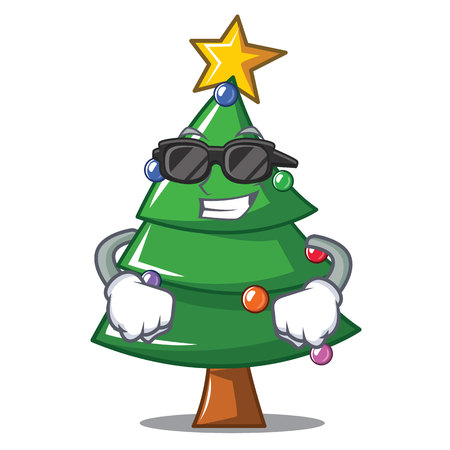 Super cool Christmas tree character cartoon, vector illustration.
