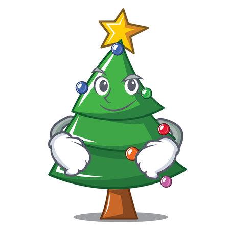 Smirking Christmas tree character cartoon, vector illustration.