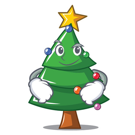 Smirking Christmas tree character cartoon, vector illustration.