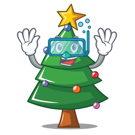 Diving Christmas tree character cartoon, vector illustration.