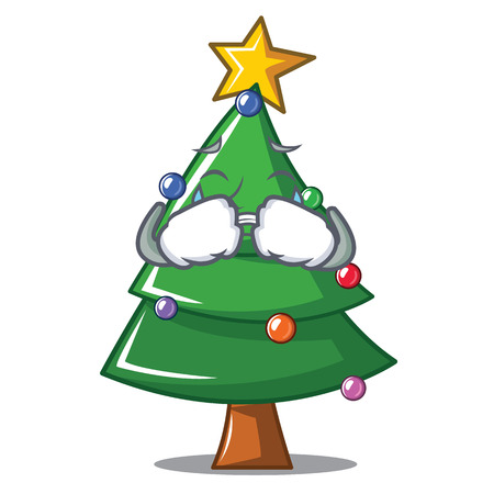 Crying Christmas tree character cartoon, vector illustration.