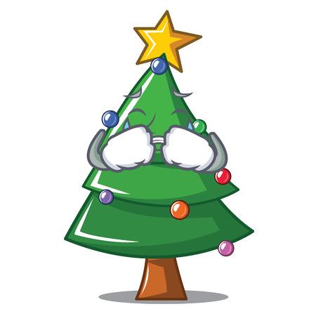 Crying Christmas tree character cartoon, vector illustration.
