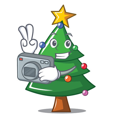 Photographer Christmas tree character cartoon, vector illustration. Illustration