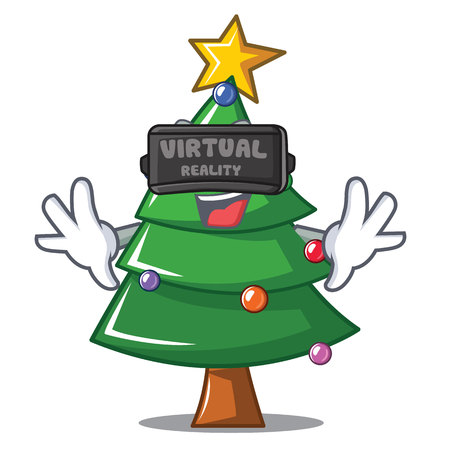 With virtual reality Christmas tree character cartoon vector illustration
